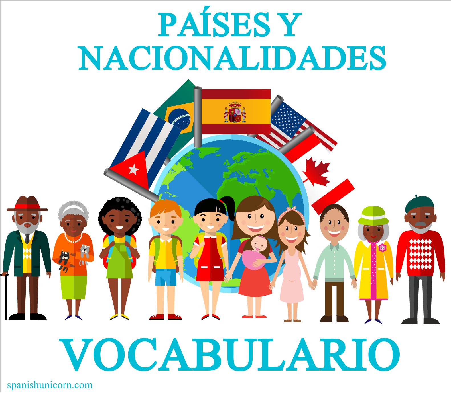 Vocabulario español: Países y nacionalidades