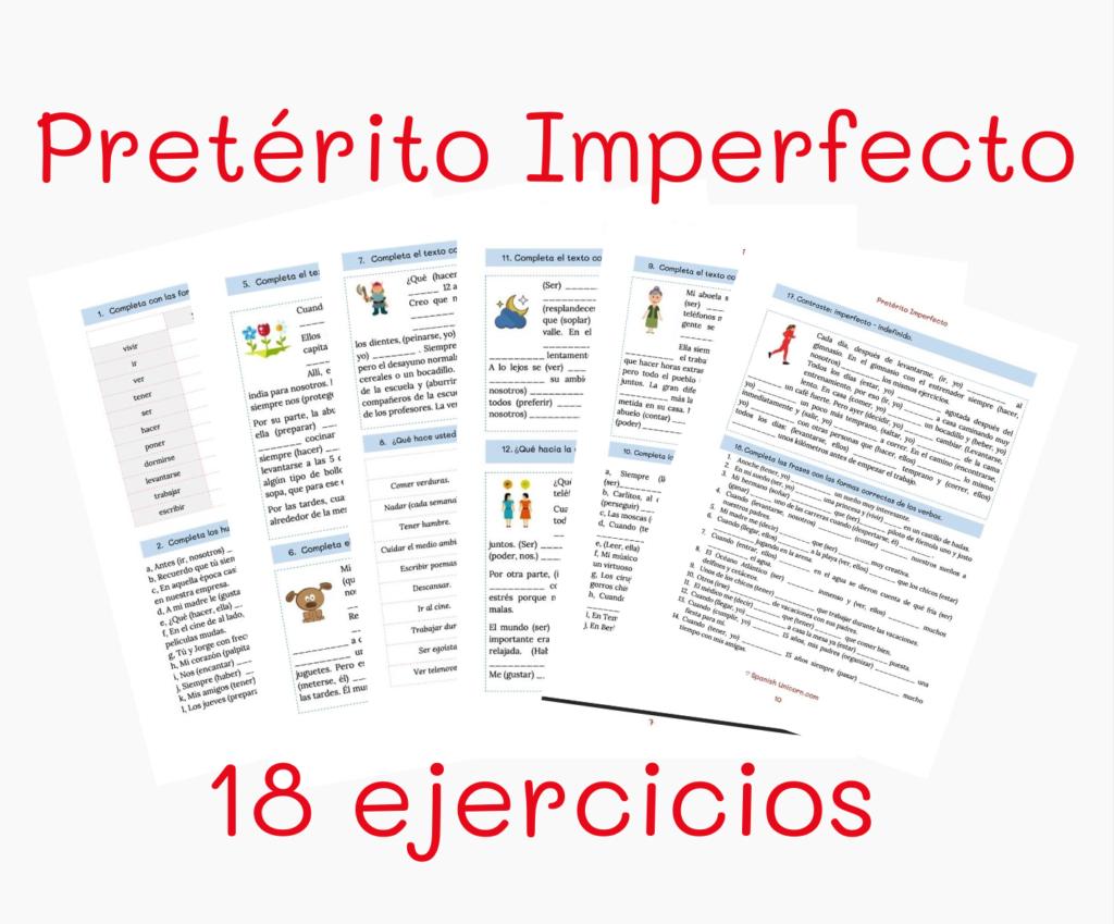 Imperfecto ejercicios materiales para clases de espanol imprimir