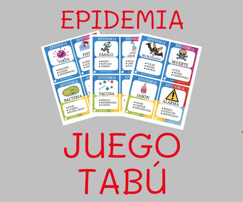 Materiales, juegos, juego tabu - epidemia