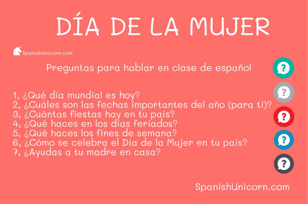 Día Internacional de la Mujer - PREGUNATS PARA CLASES DE español