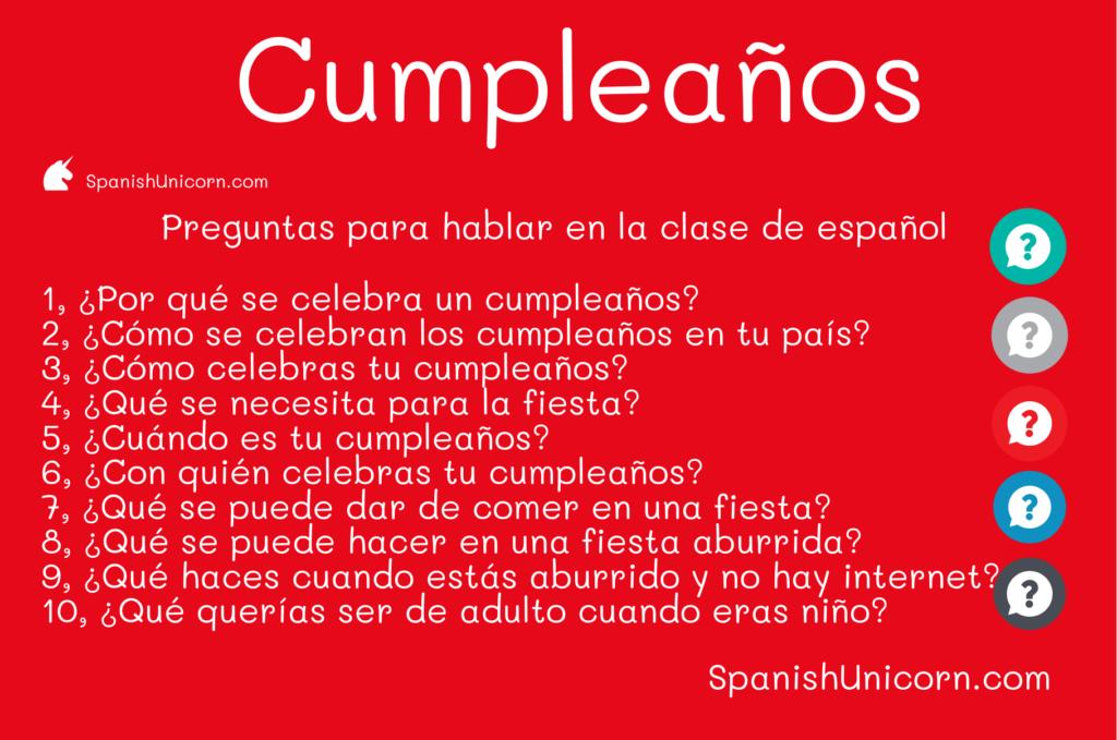 Cumpleaños - preguntas para las clases de español, debate