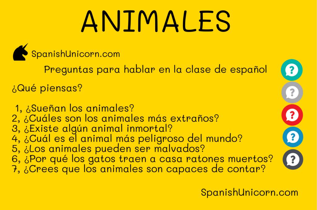 Animales y pelícanos Preguntas para clases de español