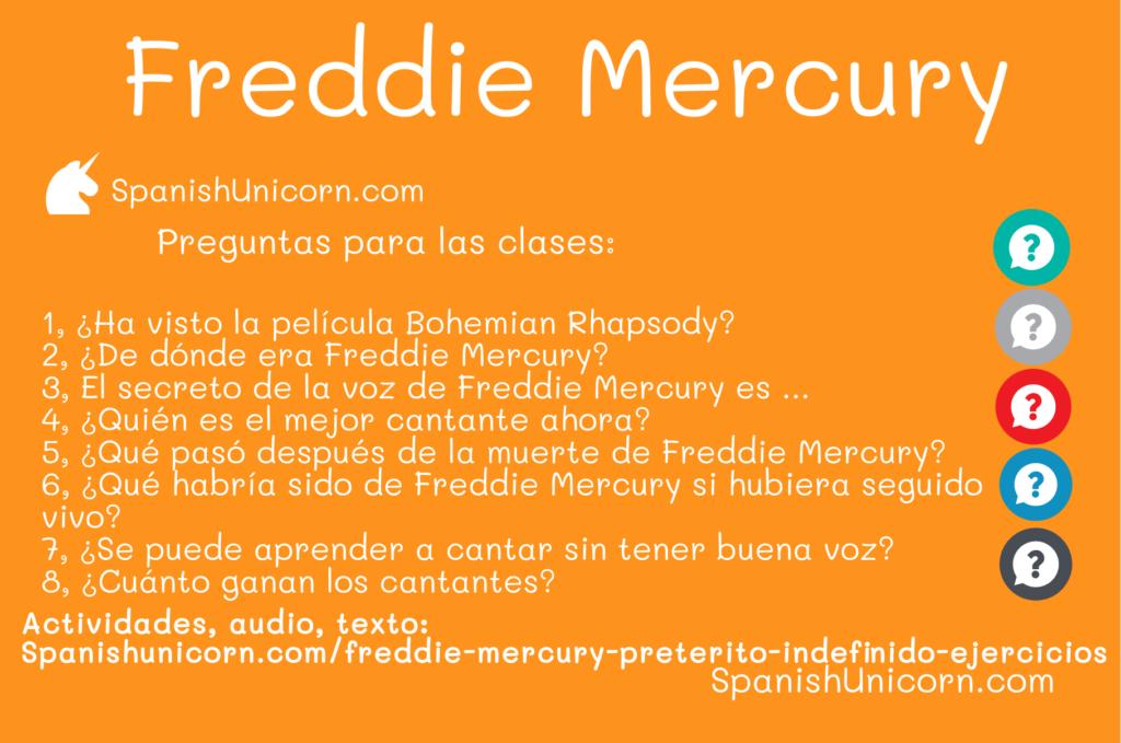 Freddie Mercury - preguntas para las clases de conversación