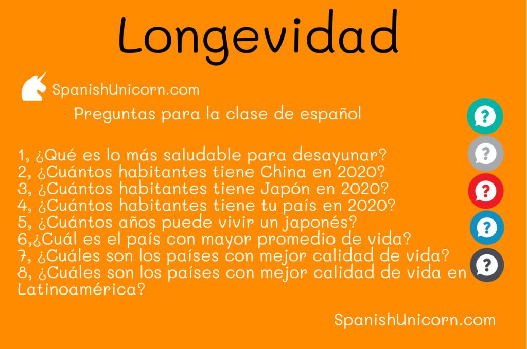 Preguntas para la clase de español sobre la longevidad